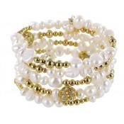 Wickelarmband Perle vergoldete Elemente