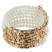 Wickelarmband Perle Golden