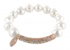 Armband Perle mit Gold Steg