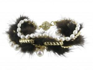 Armband Perle Nerzpompom klein