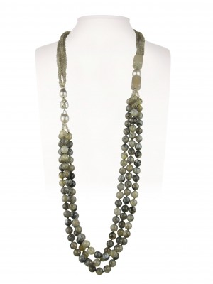 Halskette   Taupe & Grau